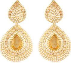 Polki Teardrop Golden Earrings – SharePyar