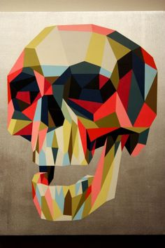 skull_TIM BISKUP -I love the idea of pulling this to student cut paper projects! Vanitas, color theory, and dimension Art And Illustration, Illustrations Posters, Arte Lowbrow, Memento Mori, Totenkopf Tattoos, Polygon Art, Arte Pop, Vanitas, Skull And Bones