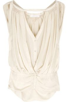 Vanessa Bruno Double-layered jersey blouse and other apparel, accessories and trends. Browse and shop 9 related looks. V Neck Blouse, Sleeveless Blouse, Pleated Shirt, Vanessa Bruno, Mode Outfits, Mode Inspiration, Mode Style, What To Wear, Clothes For Women