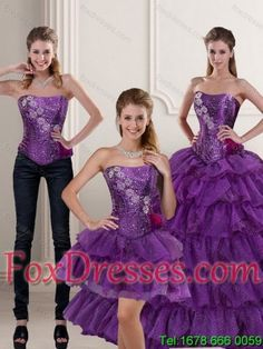 2015 Detachable Purple Quince Dress with Ruffled Layers and Beading