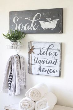 This is a SET OF TWO OR THREE rustic bathroom decor pieces - the perfect farmhouse touch for any bathroom! The signs are custom painted and hand-distressed, giving them a vintage weathered effect! The set includes: ★ The Soak sign on a 24 x 8.5 wood slat canvas ★ The relax, unwind,