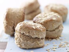 Oatmeal Scones - Surprise yourself at the next breakfast with homemade bread rolls? How about these delicious oatmea - Baking With Yogurt, Oatmeal Scones, Tea Biscuits, Tasty, Yummy Food, Eat Smarter, Food Inspiration, Love Food, Bakery