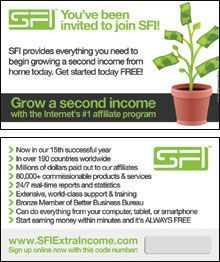 Grow a second income. Worried about your paycheck? Add a second paycheck and a second income with Strong Future International. Get started FREE. Start seeing money within a few weeks! Join now and become an SFI Affiliate and Business Owner. Register FREE at my website stated above my SFI pin board so I could orient you about SFI, its programs, business and income opportunities. SFI | Marketing Center.