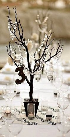 faux manzanita tree centerpieces with hanging crystals and votive candles Tree Centerpieces, Wedding Centerpieces, Wedding Table, Wedding Decorations, Table Decorations, Centrepiece Ideas, Masquerade Ball Decorations, Reception Table, Elegant Centerpieces