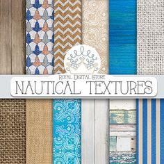 "Nautical digital paper: ""NAUTICAL TEXTURES"" with nautical scrapbook paper, beach background, wood, burlap for scrapbooking, invitations"