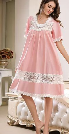 Miss Linda is elegant designs of intimate apparel, Serene comfort cotton nightgowns & soft and lightweight of luxury silk elegance womens sleepwear Night Gown Dress, Sleep Night Dress, Cotton Nighties, Night Dress For Women, Girls Sleepwear, Frocks For Girls, Frock Design, Dress Sewing Patterns, Women Lingerie