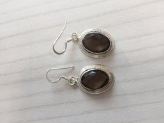Colorz Of Earth: #SmokyQuartz #Quartz #Gemstone #Earrings in 925 Sterling Silver #ColorzOfEarth #DropDangle