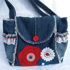 Denim and lace patchwork shoulder bag