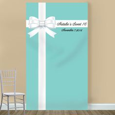 Tiffany Blue Personalized Photo Booth Backdrop - I am going to do this on front door, maybe bathroom door too using plastic table cloth and giant white bow!