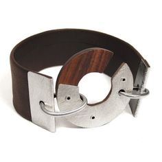 BRACELET  Enso Inpsired Silver Rosewood and Leather by mkwind, $65.00