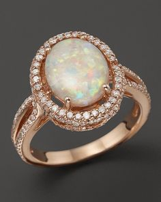 Bloomingdale's Opal and Diamond Halo Ring in 14K Rose Gold
