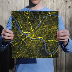 Map art print of Pittsburgh, PA - Celebrate some of the best cities the in the world with fine art maps from City Prints. Illustrated in bold colors inspired by their city flags, these prints look like modern art but also represent the places you're most passionate about. City Prints are truly the perfect personalized gift.