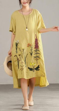 Italian linen cotton dresses Embroidery Irregular Short Sleeve Yellow Dress – Linen Dresses For Women Boho Summer Dresses, Casual Dresses, Summer Outfits, Dress Summer, Summer Tunics, Elegant Dresses, Casual Shoes, Beautiful Dresses, Spring Summer