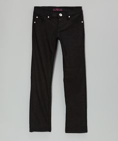 Take a look at this Black Twill Pants by Lavo Collections on #zulily today!