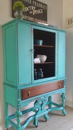 Turquoise painted china cabinet www.facebook.com/2nddoorontheright