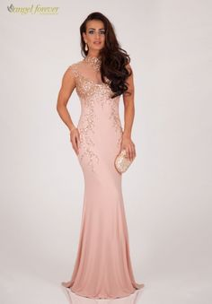 Full length beaded dress with high neck and open back - Catherines of Partick Evening Dresses, Formal Dresses, Stunning Dresses, Bodice, Bridesmaid Dresses, Prom, Gowns, Skirts, Nude