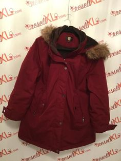 dcf49e1ae36c77 Gallery Woman Size L Red Coat with Faux Fur Hood