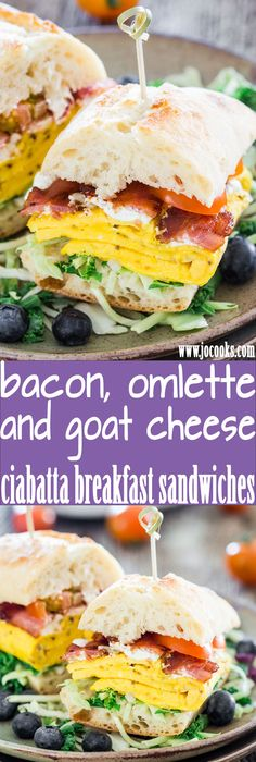 Bacon Omelette Goat Cheese Ciabatta Breakfast Sandwiches - what better way to start off your day than with a giant ciabatta sandwich featuring bacon, eggs and goat cheese!