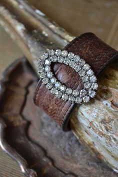 awesome Leather Statement Cuff Vintage Rhinestone Shoe by BellaEllie...