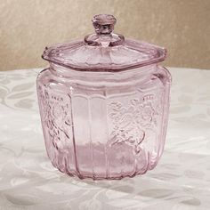 Lavender Glass Biscuit Jar - New color requested by you! #vintage #glassware #kitchen
