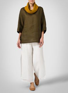 Linen Two Tone Golden Brown Dropped Shoulder Top