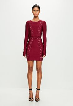 Missguided - Peace   Love Red Longsleeve Bandage Dress