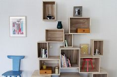 Awsome wall shelves from http://blog.2modern.com    LOVE theese, want some!