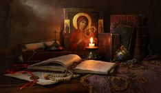 Still Life with icon, books and candle by Andrey Morozov Lives Of The Saints, Protection Spells, Russian Orthodox, Blessed Mother, Spiritual Life, Christian Life, Holy Spirit, Still Life, Ikon