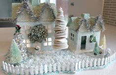 How to make a Christmas Glitter House. from victorious archive Christmas Town, Merry Christmas To All, Christmas Fairy, Christmas Villages, Christmas Makes, Christmas Holidays, Christmas Crafts, Christmas Decorations, Christmas Glitter