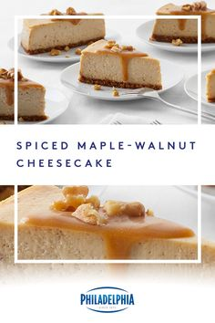 Your guests will heap on the thanks this Thanksgiving after enjoying our rich and creamy Spiced Maple-Walnut Cheesecake. This delicious dessert features graham crackers, maple syrup, and PHILADELPHIA Cream Cheese. #ItMustBeThePhilly