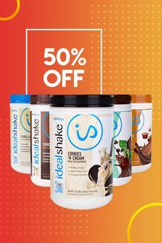 See results with 50% off select flavors of IdealShake. These smooth, creamy, delicious shakes will keep you feeling satisfied until your next meal. Choose from Chocolate, Vanilla, Mint Chocolate Chip, Chocolate Peanut Butter or Cookies 'n Cream.