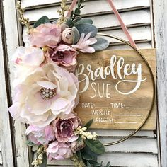 Nursery name sign nursery decor baby girl name sign custom Nursery Name, Nursery Signs, Nursery Wall Art, Girl Nursery, Nursery Decor, Hospital Door Wreaths, Hospital Door Signs, Over The Top, Birth Announcement Sign