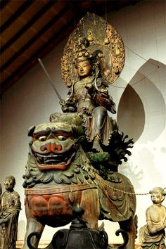 Abe Wenshu Bodhisattva Manjusri riding a lion like wooden (Kaikei as) ga ni… Linderhof, Japanese Buddhism, Fu Dog, Spiritual Images, Gautama Buddha, Religion, Korean Art, Guanyin, Buddhist Art