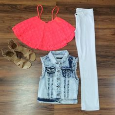 This hot pink crop top goes great with our acid washed blue jean vest and white skinnies! #StyledByPaula