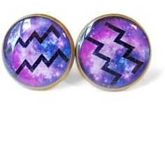 Aquarius Sign Earrings with Galaxy Background - Zodiac Sign Stud... ($10) ❤ liked on Polyvore featuring jewelry, earrings, zodiac, clear jewelry, nickel free stud earrings, stud earrings, galaxy earrings and cosmic jewelry