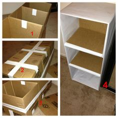 DIY 3 Tier Shelf from cardboard boxes!