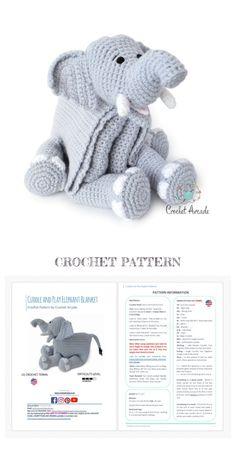Elephant Baby Blanket, Crochet Elephant, Elephant Pattern, Crochet Lovey Free Pattern, Crochet Blanket Patterns, Crochet Doll Tutorial, Crochet Ripple Blanket, Crochet Classes, Baby Knitting