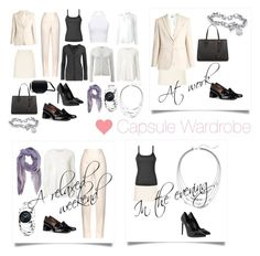 """Capsule wardrobe for business and leisure"" by bluedaydream ❤ liked on Polyvore featuring Jil Sander, Calvin Klein, WearAll, Michael Kors, By Malene Birger, Moschino, Witchery, Emporio Armani, Yves Saint Laurent and Tabitha Simmons"