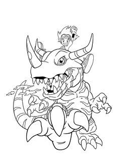 Dinosaur King avec un petit garçon sur le dos, à colorier
