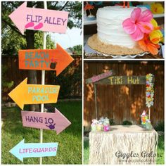 I can figure out a way to make that tiki hut diy style. Cake=cute Sign=cute