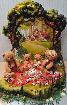 Picnic Bears & cottage cake