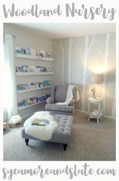 Woodland Nursery Reveal. Neutral colors, lots of beautiful decor ideas! On the Blog at Sycamore and Slate.