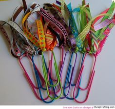 Book marks...Great idea, and good use for pretty ribbon scraps too short for a project-but too pretty to throw away!