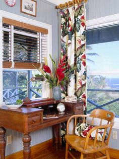 I LOVE This Beachy Work Space Hawaiian DecorHawaiian PrintOffice WorkspaceHome OfficeOffice OrganizationTropical CurtainsDining Room