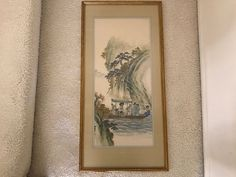 Framed Chinese Silk Landscape Painting