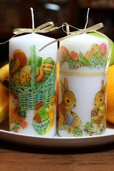 DIY Decoupage candles. http://easycraftidea4u.blogspot.com/2014/03/decoupage-candles.html