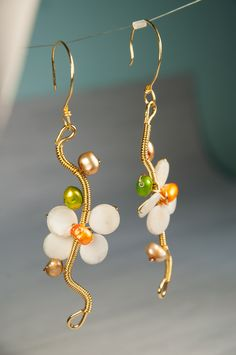 Flower Design Earrings, Gold Fill, 14K, Fildisi Petals, Grey, Orange and Green Pearls, Wire Wrapped Technique