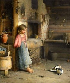 Ivan Lavrentievich Gorokhov (Russian painter) 1863 - 1934 A Girl with Kittens, 1895 Classic Paintings, Old Paintings, Beautiful Paintings, Russian Painting, Russian Art, Illustration Art, Illustrations, Realistic Paintings, Victorian Art