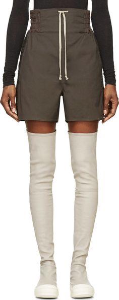 RICK OWENS Dark Grey Trimmed Team Boxer Shorts. #rickowens #cloth #shorts