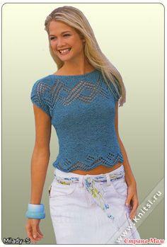 Renee - - Lei Yu Xuan iki mavi kısa kollu n koleksiyonu Summer Knitting, Lace Knitting, Knitting Stitches, Knitting Patterns Free, Knit Patterns, Free Pattern, Crochet Blouse, Knit Crochet, Mode Crochet
